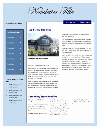 Ms Word Newsletter Template Free Elegant Free Newsletter Template – Microsoft Word Newsletter