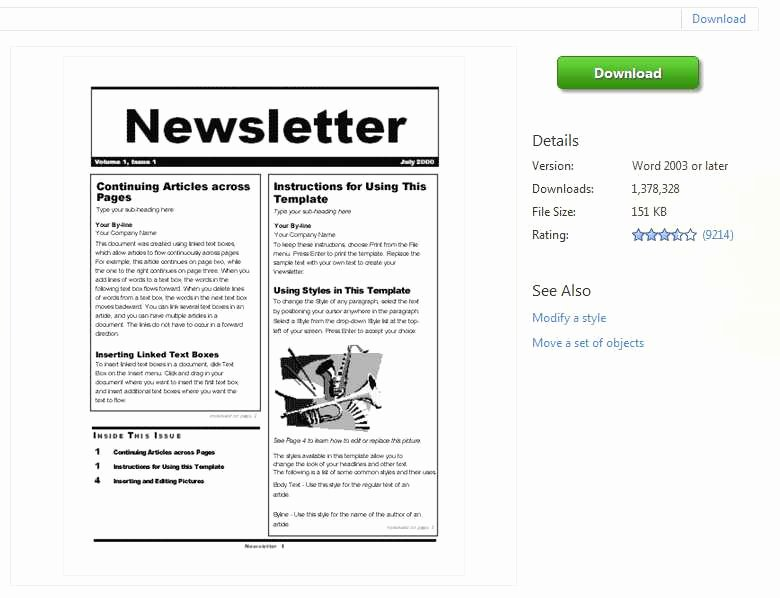 Ms Word Newsletter Template Free Elegant Newsletter Templates Word