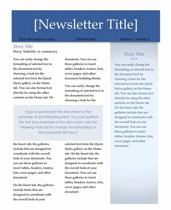 Ms Word Newsletter Template Free Lovely Microsoft Word Newsletter Templates