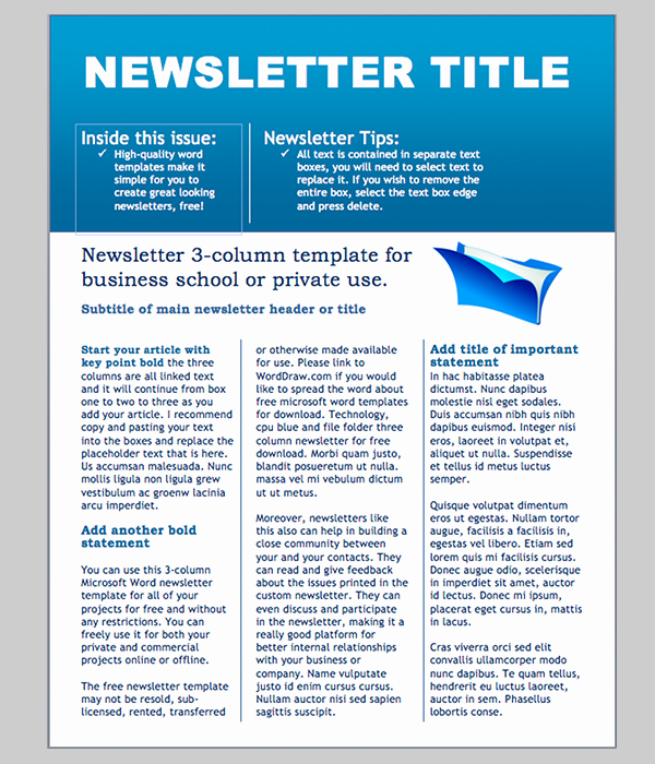 Ms Word Newsletter Template Free Unique Newsletter Examples Template Newsletter