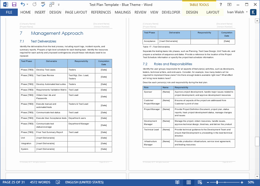 Ms Word Test Template Lovely Test Plan Template • My software Templates