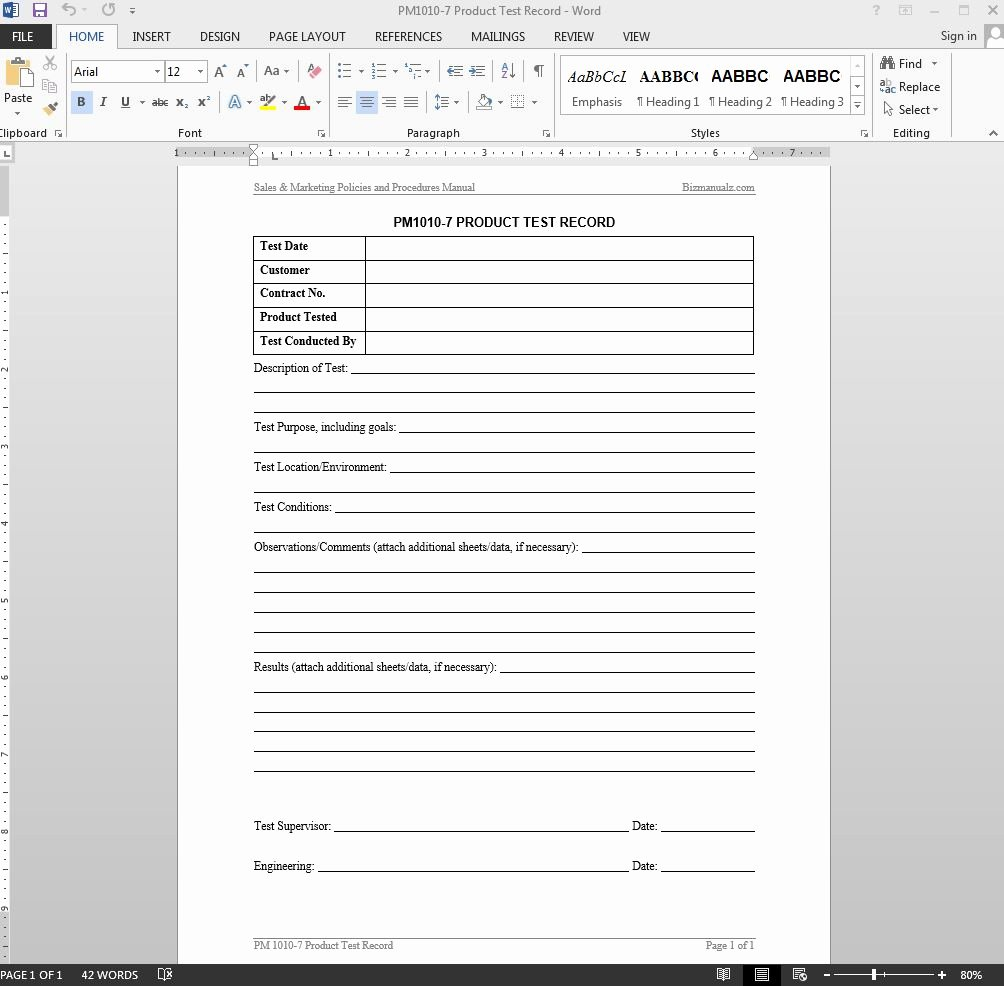 Ms Word Test Template Unique Microsoft Word Test Procedure Template Lloaddbusters
