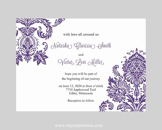 Ms Word Wedding Invitation Template Awesome Wedding Invitation Template Purple Damask Instant Download