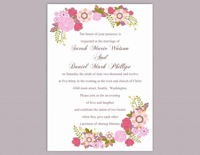 Ms Word Wedding Invitation Template Elegant Diy Wedding Invitation Template Editable Word File Instant
