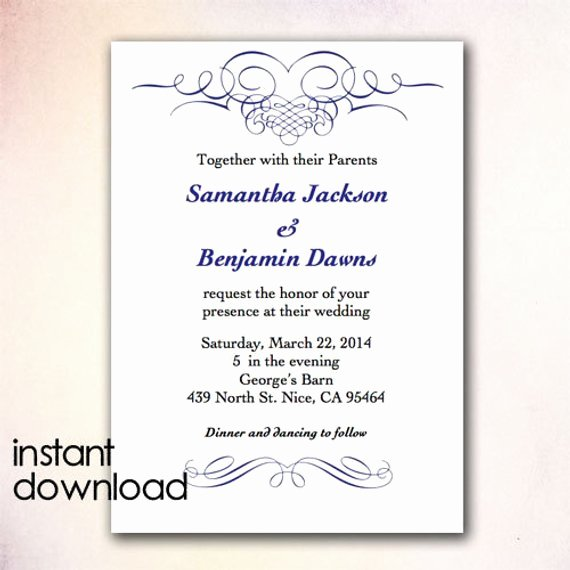 Ms Word Wedding Invitation Template Inspirational Items Similar to Diy Wedding Invitation Template Instant