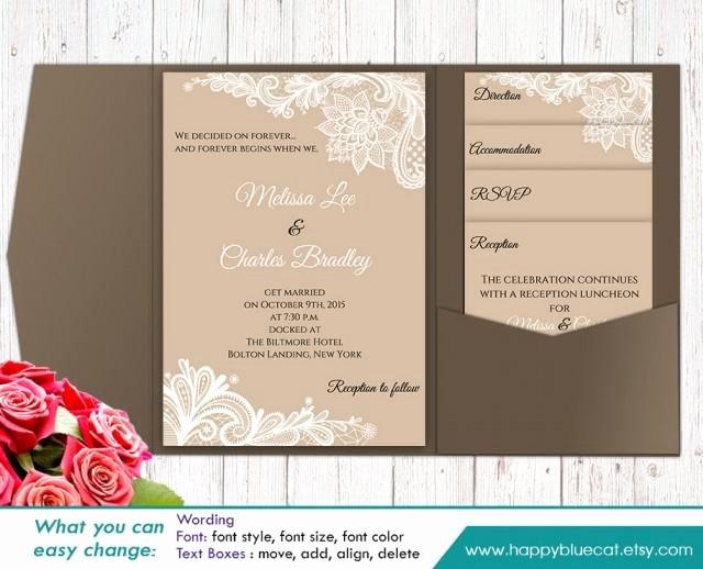 Ms Word Wedding Invitation Template Unique Diy Printable Pocket Wedding Invitation Template Set