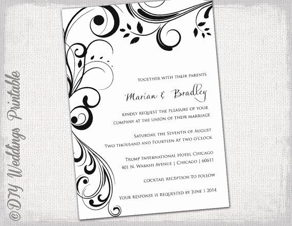 "Ms Word Wedding Invitation Template Unique Wedding Invitation Templates Black and White ""scroll"