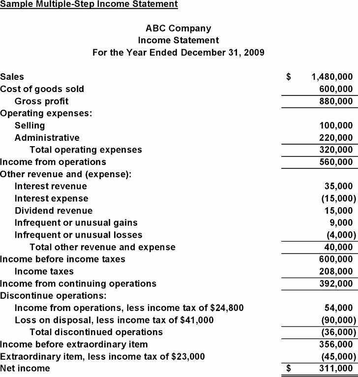 Multi Step Income Statement Template Awesome 12 Multiple Step In E Statement Example