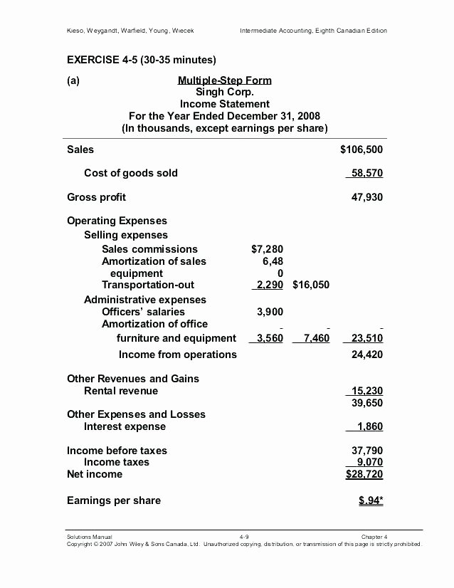 Multi Step Income Statement Template Awesome 15 Multi Step In E Statement format