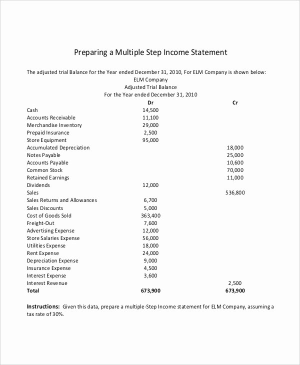 Multi Step Income Statement Template Beautiful Multi Step In E Statement 14 Free Word Pdf Excel