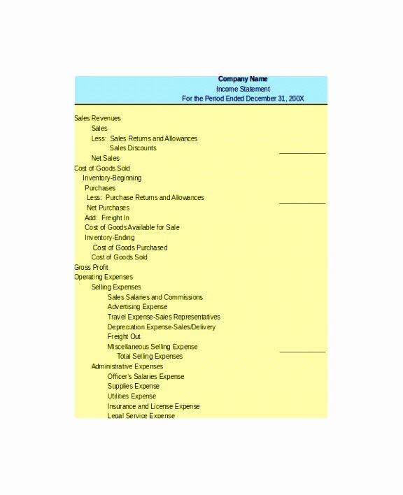 Multi Step Income Statement Template Elegant 10 Multi Step In E Statement Template Excel Iilaa