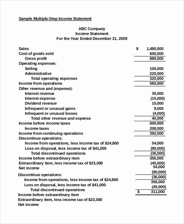 Multi Step Income Statement Template Lovely 7 Sample In E Statement Examples
