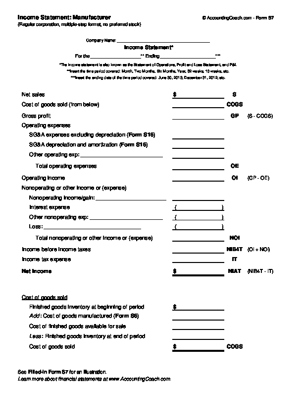 Multi Step Income Statement Template Luxury In E Statement Manufacturer Corporation Multiple