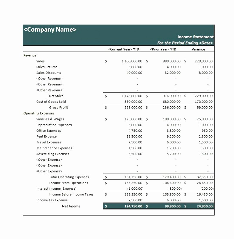 Multi Step Income Statement Template New 10 Multi Step In E Statement Template Excel Iilaa
