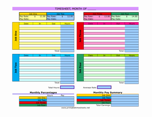 Multiple Employee Timesheet Template Awesome Multiple Job Timesheet Printable Time Sheet