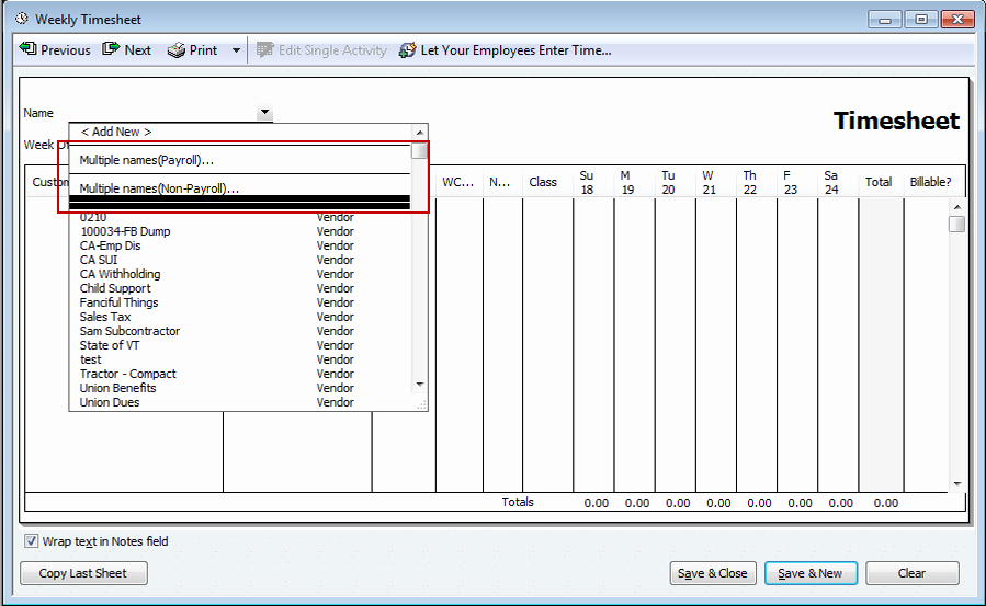 Multiple Employee Timesheet Template Awesome Quickbooks 2012 New Batch Timesheet Creation