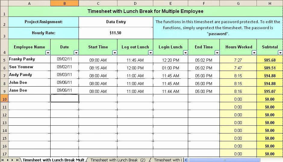 Multiple Employee Timesheet Template Fresh Multiple Employee Schedule Template Related Keywords