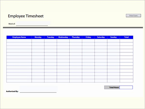 Multiple Employee Timesheet Template Inspirational Time Sheet Calculator Templates 15 Download Free