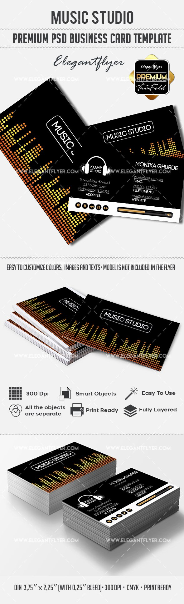 Music Business Card Template Beautiful Music Production Business Card – by Elegantflyer