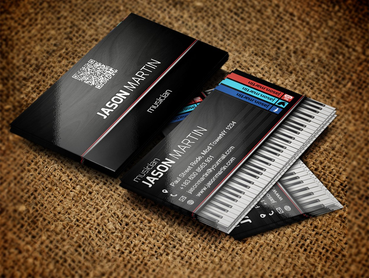 Music Business Card Template Inspirational Free Musician Business Cards