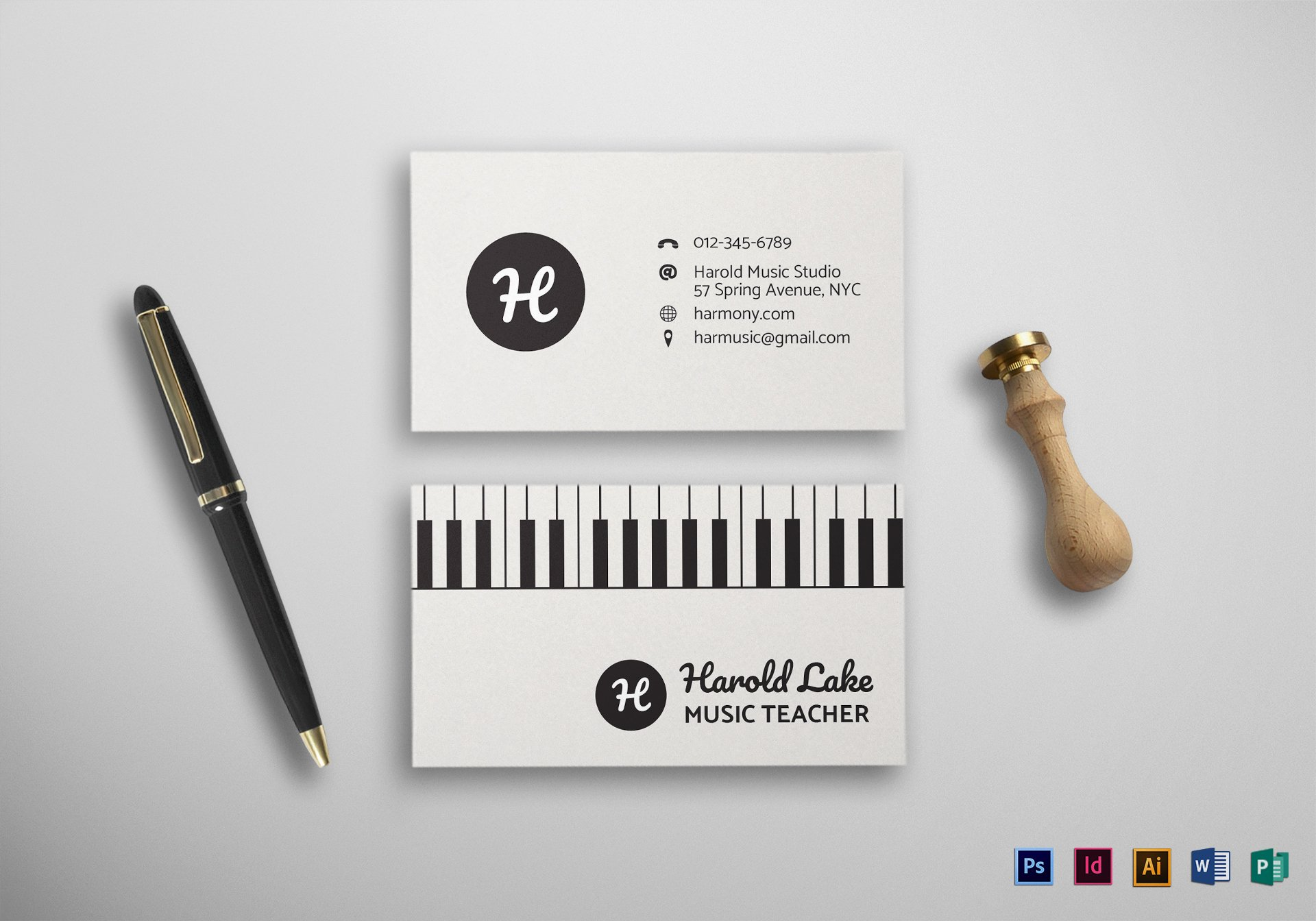 Music Business Card Template Unique Music Business Card Design Template In Psd Word