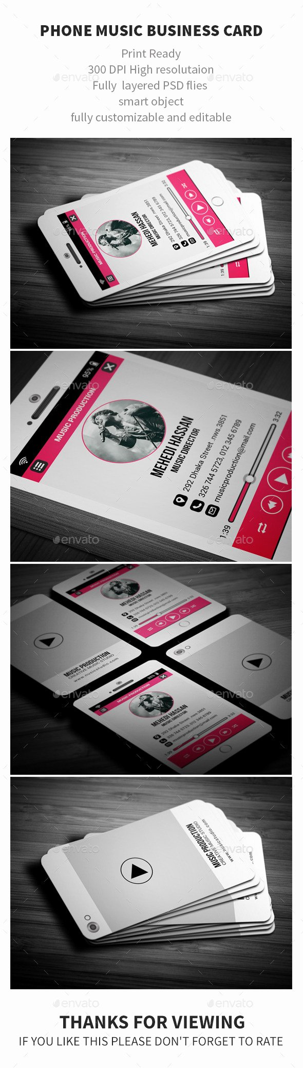 Music Business Cards Template Inspirational Phone Music Business Card by Mehedi Hassan
