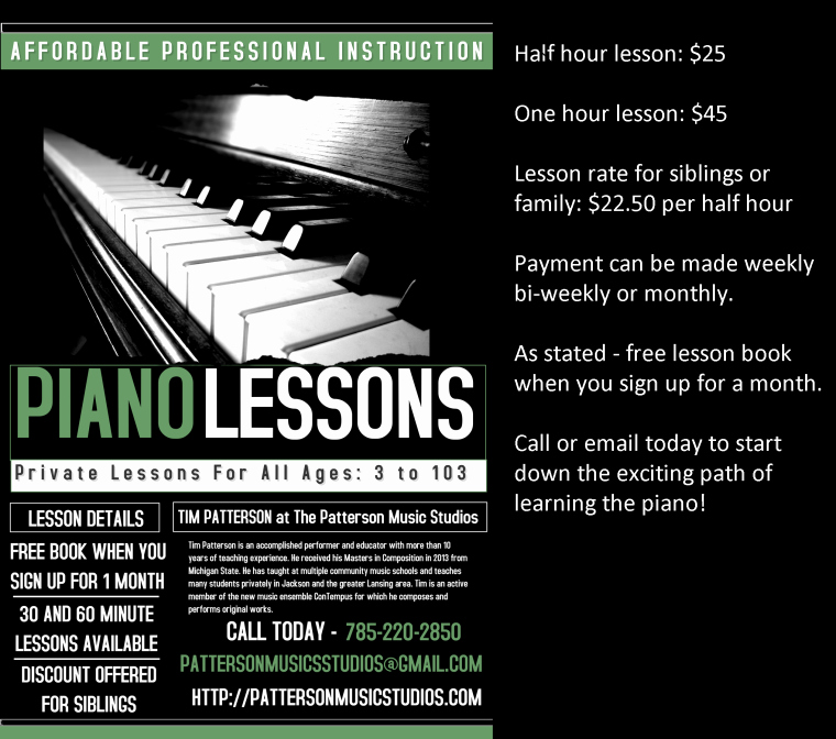 Music Lesson Flyer Template Awesome Patterson Music Studios – Private Lessons by Tim and Sarah