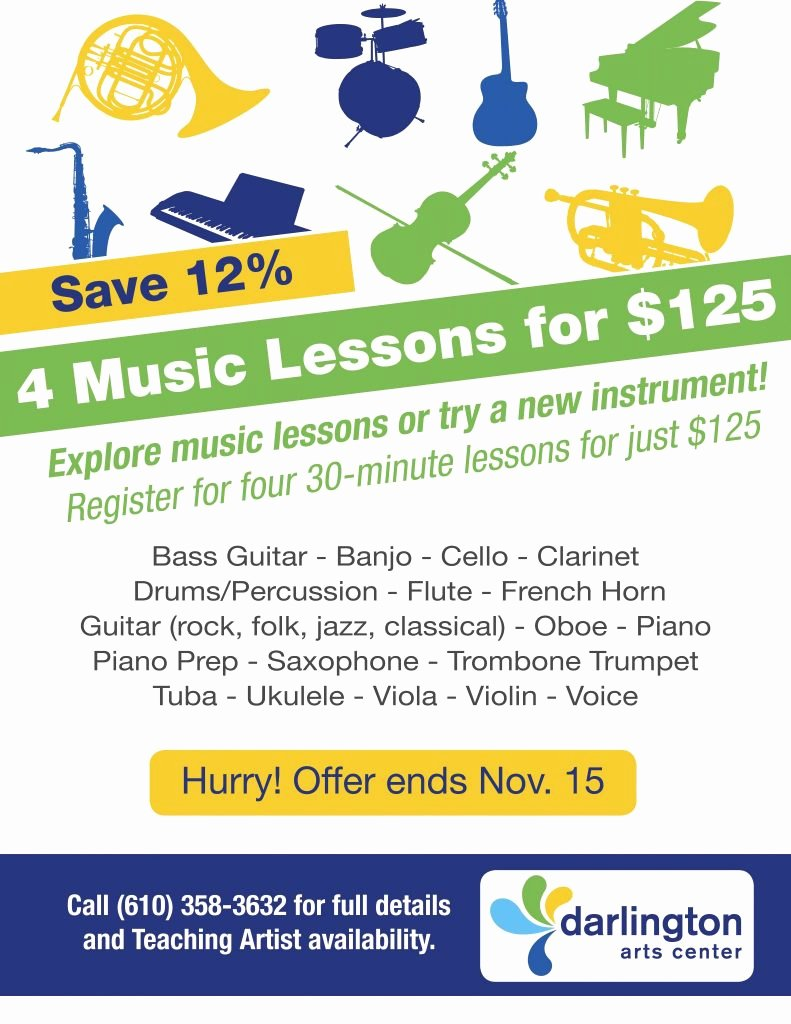 Music Lesson Flyer Template Awesome Sale 4 Music Lessons for $125 Darlington Arts Center