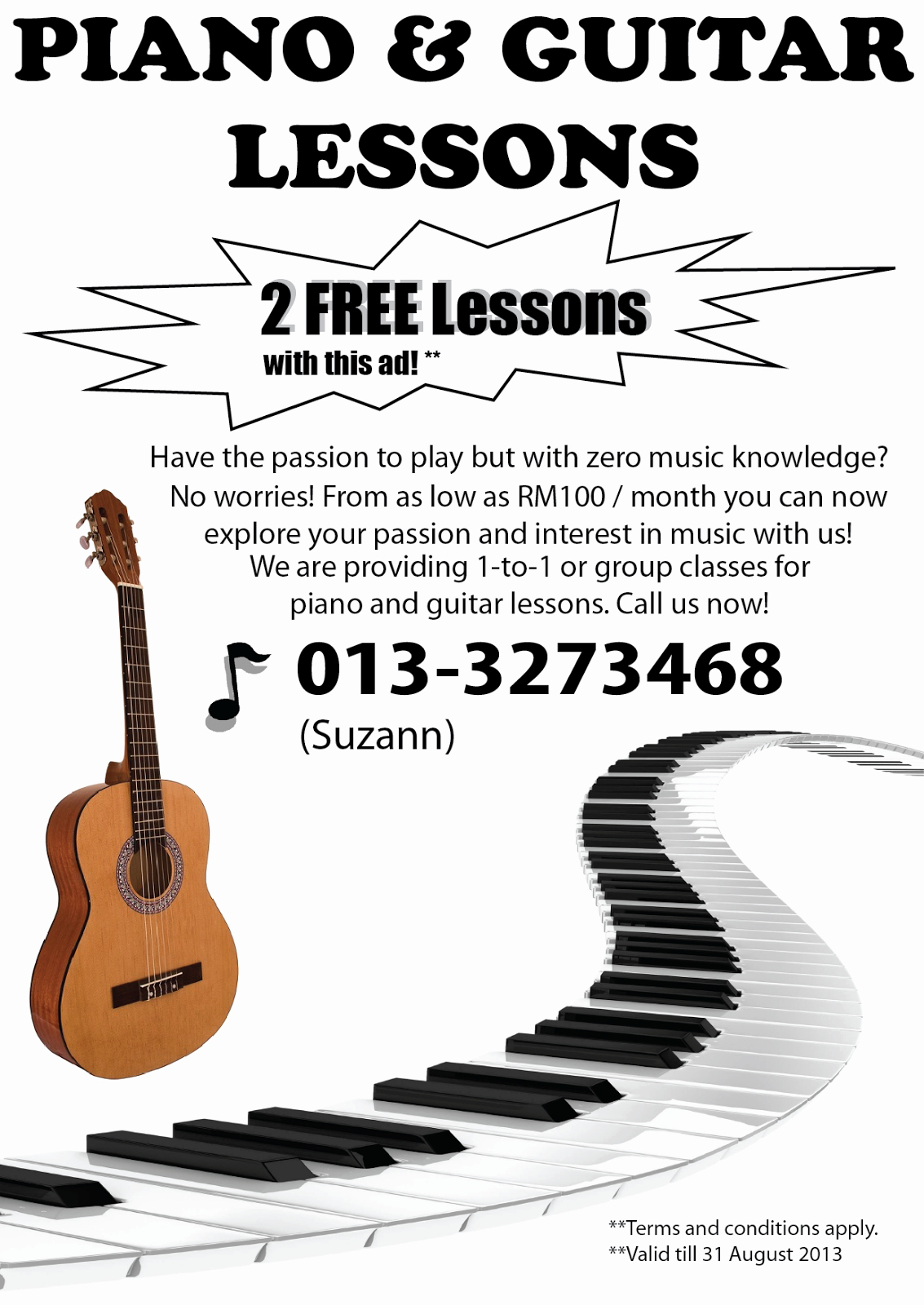 Music Lesson Flyer Template Awesome Suzann Music Piano and Guitar Lessons Available now