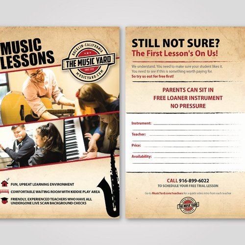 Music Lesson Flyer Template Beautiful Design 1 2 Page Flyer for Our Music Lessons Program
