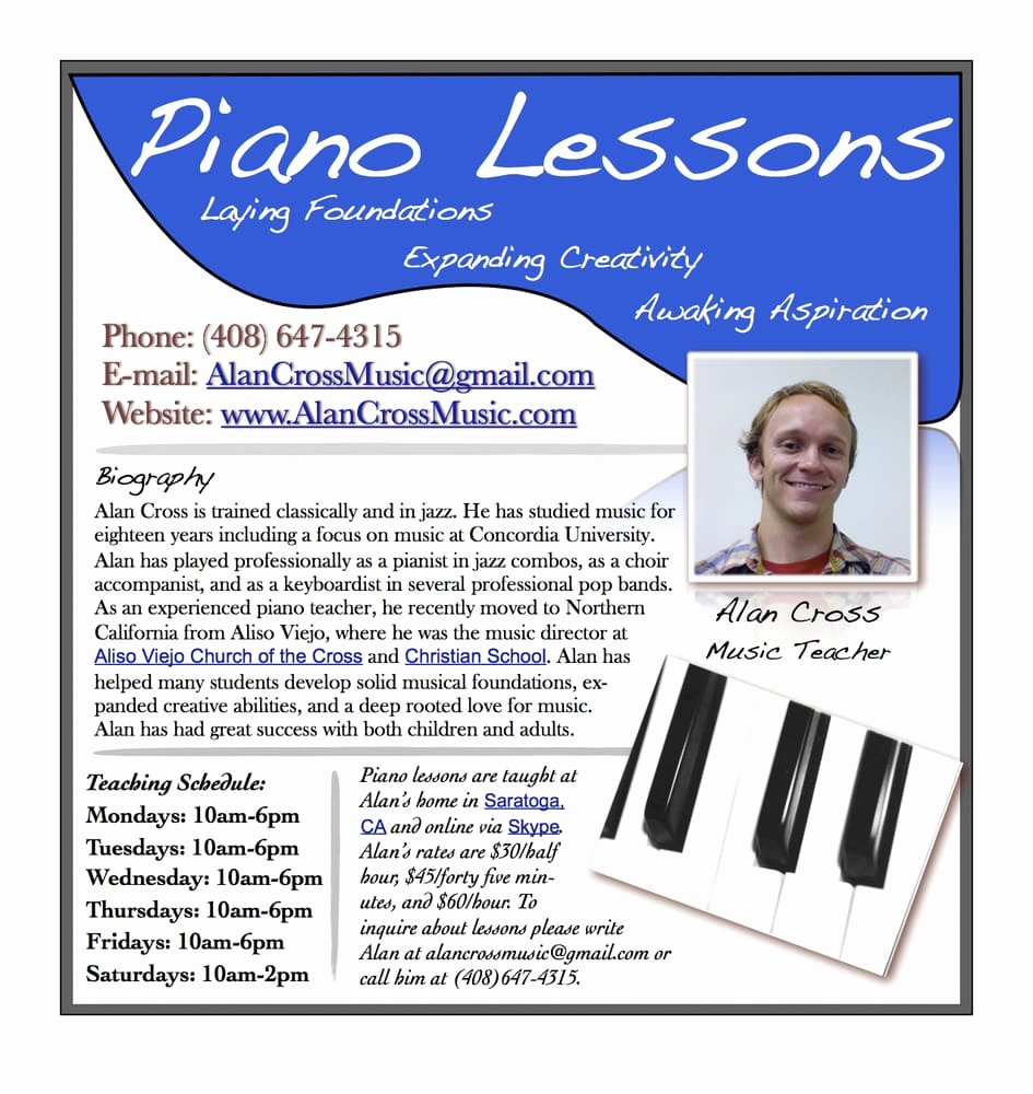 Music Lesson Flyer Template Best Of Alan Cross Piano Lesson Flyer Yelp