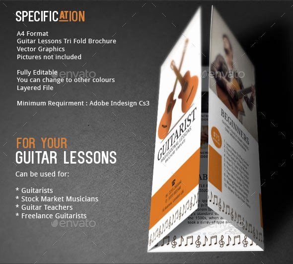 Music Lesson Flyer Template Fresh Guitar Lessons Brochure Template by Adburst
