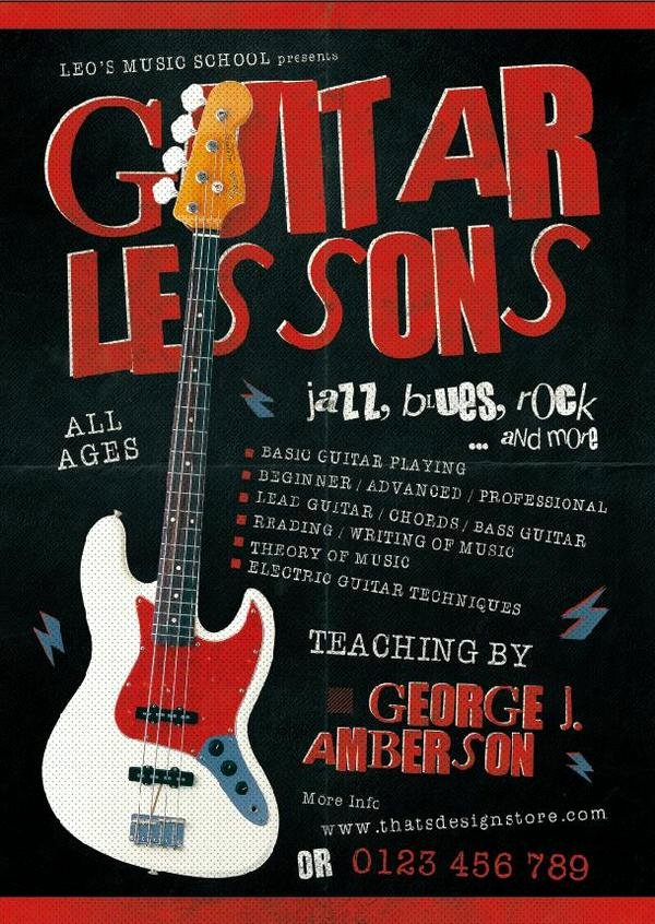 Music Lesson Flyer Template Fresh Guitar Lessons Flyer Psd Template Free