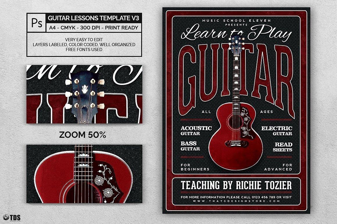 Music Lesson Flyer Template Fresh Guitar Lessons Flyer Template V3