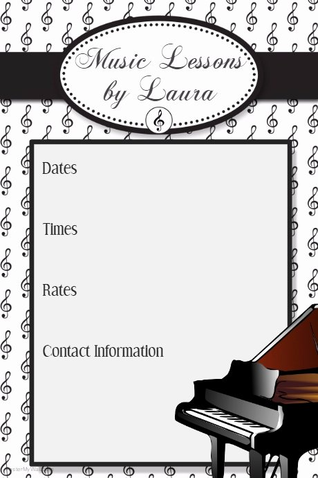 Music Lesson Flyer Template Lovely Music Lessons Camp Recital Flyer Poster Invitation