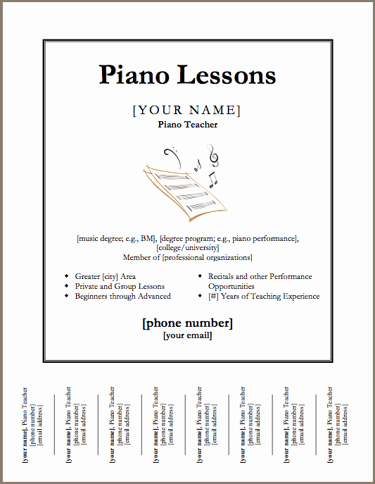 Music Lesson Flyer Template New Just Added Piano Lessons Flyer Template