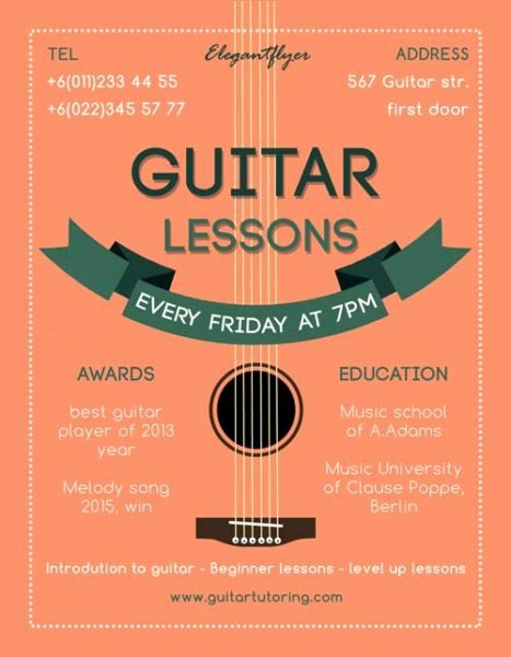 Music Lesson Flyer Template Unique Guitar Lessons Free Flyer Template Download for Shop