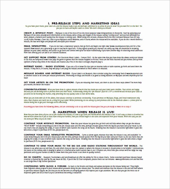 Music Marketing Plan Template New Music Marketing Plan Template – 10 Free Sample Example
