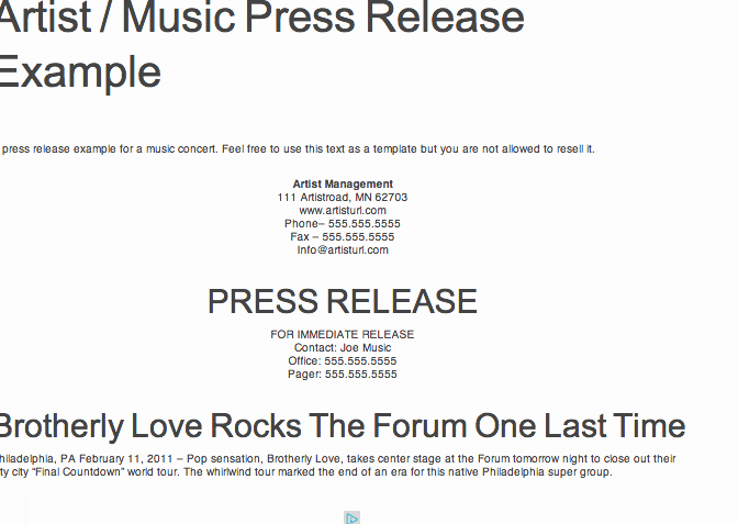 Music Press Release Template Awesome Reference for Press Kit assignment Example Of Press