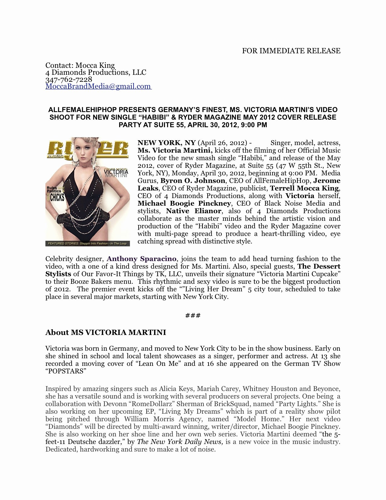 Music Press Release Template Best Of Victoria Martini
