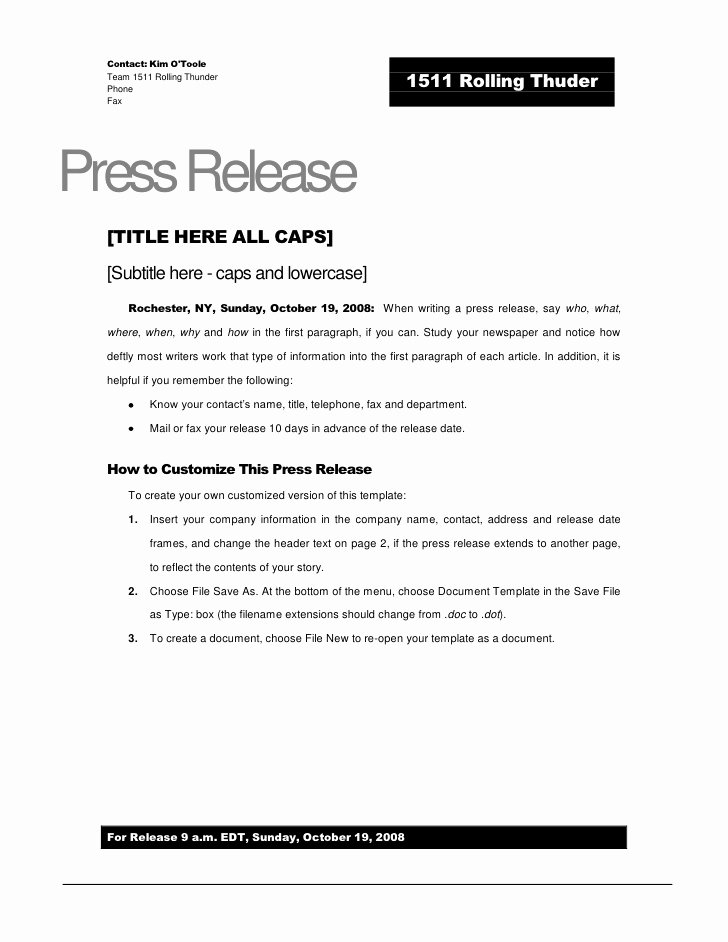 Music Press Release Template Fresh Rolling Thunder Press Release Template