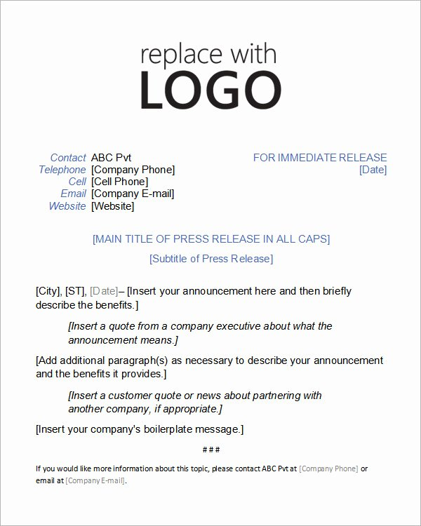 Music Press Release Template New 8 Press Release Templates