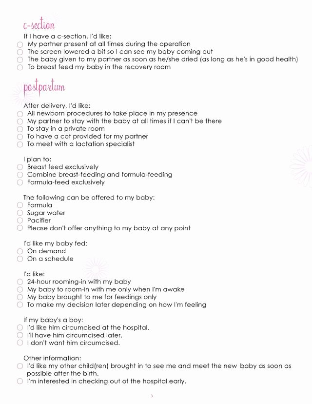 Natural Birth Plan Template New Birth Plan Worksheet Page 3 Free Printable Coloring Pages