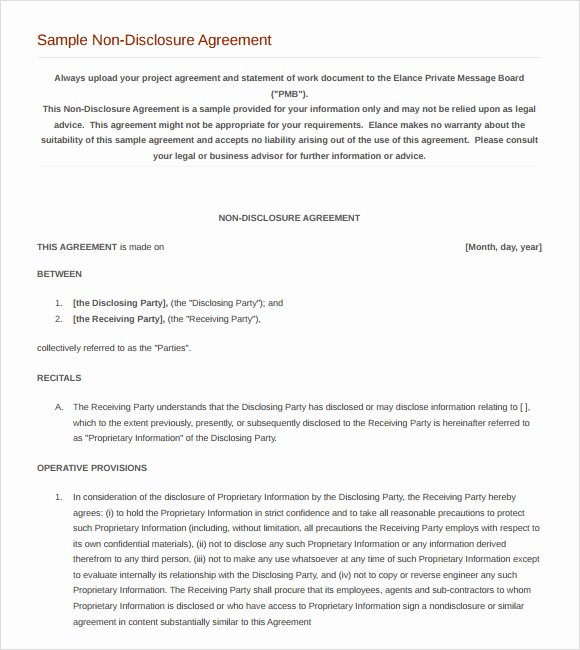Nda Agreement Template Word Beautiful 8 Sample Non Disclosure Agreements