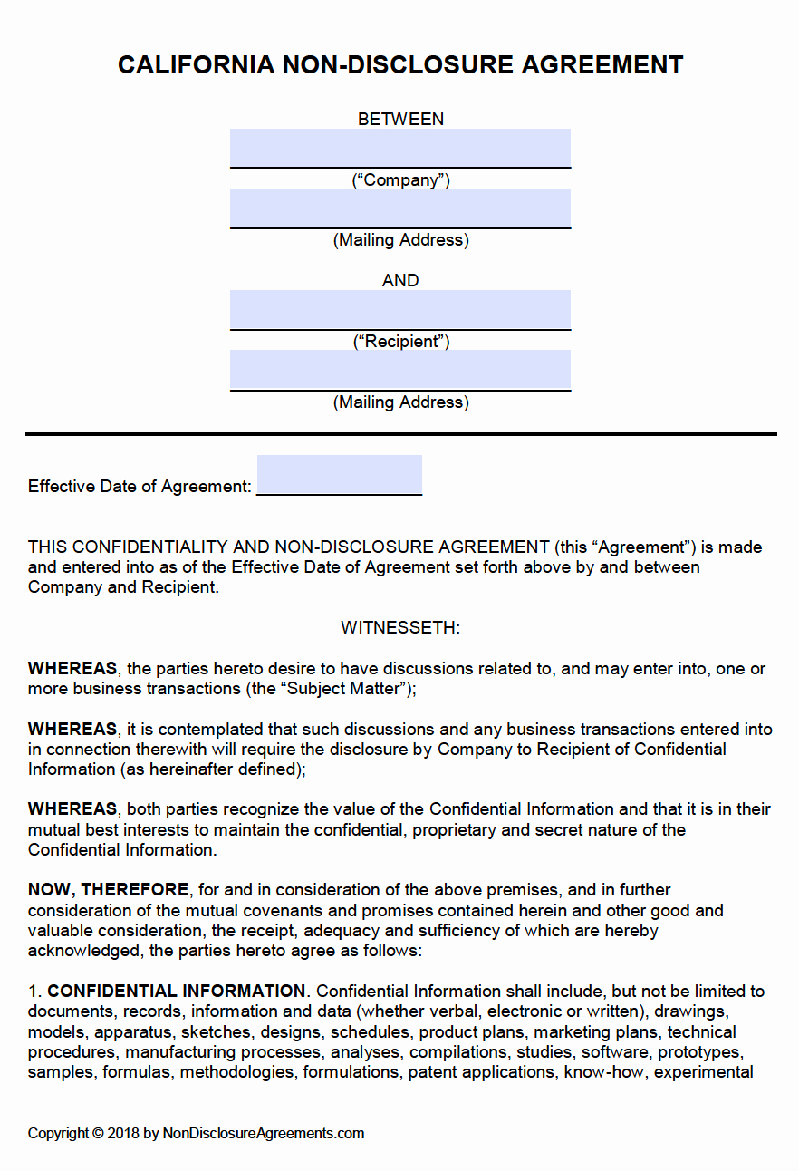 Nda Agreement Template Word Fresh Free California Non Disclosure Agreement Nda Template