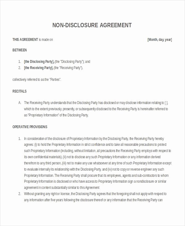 Nda Agreement Template Word Inspirational 21 Non Disclosure Agreement Templates Free Sample