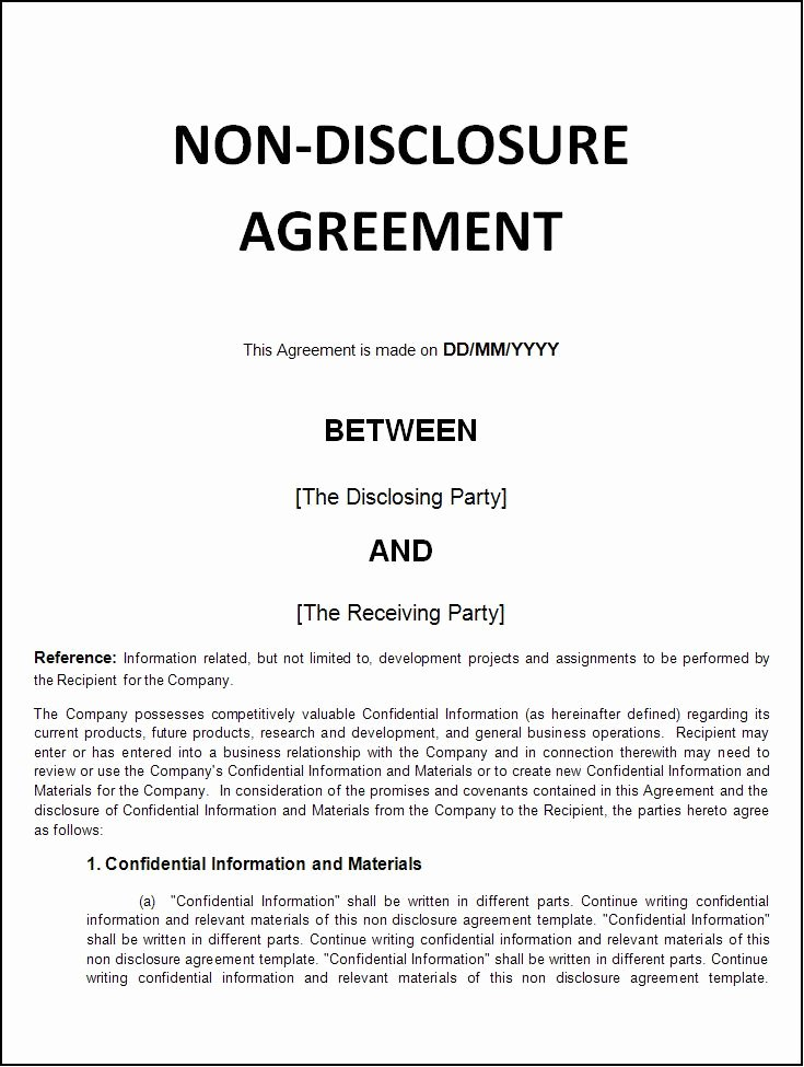 Nda Agreement Template Word Inspirational Non Disclosure Agreement Template Word Excel formats