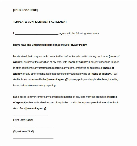Nda Agreement Template Word Luxury 25 Confidentiality Agreement Templates Doc Pdf