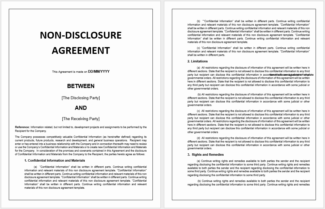 Nda Agreement Template Word New 21 Free Employee Non Disclosure Agreement Templates