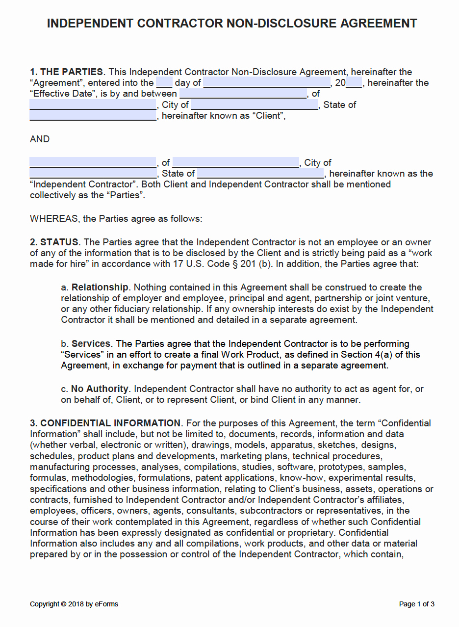 Nda Agreement Template Word New Free Independent Contractor Non Disclosure Agreement Nda